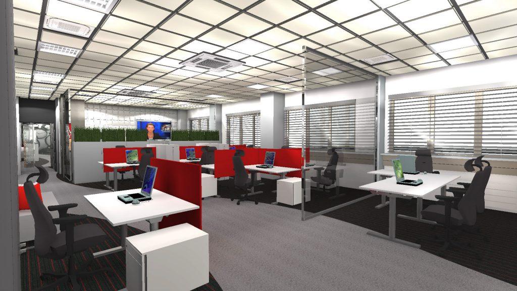 Projekt wnętrz biurowych 1000m2 Łódź